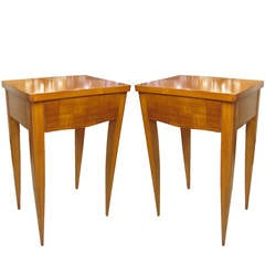 Pair of French Modernist Parquetry End Tables