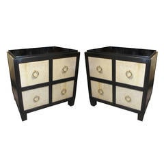 Pair of Lacquered Parchment Chests or Nightstands