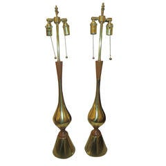Pair of American Modern Brass and Wood Tall Table Lamps