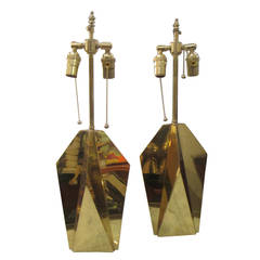 Pair of Modernist Brass Faceted Table Lamps