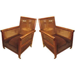 A Rare Pair of Oversized Edwardian Rosewood Caned Library Chairs