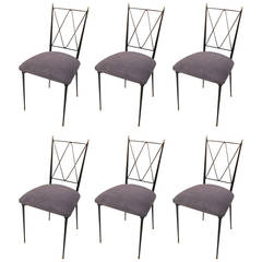 Set of Six Wrought Iron Chairs with Brass Finials
