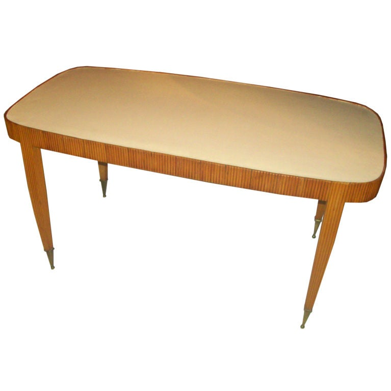 osvaldo borsani leather top coffee table at 1stdibs