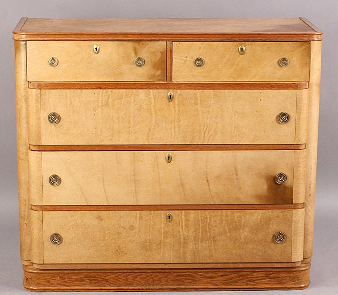 Art deco parchment commode at 1stdibs for Commode miroir art deco
