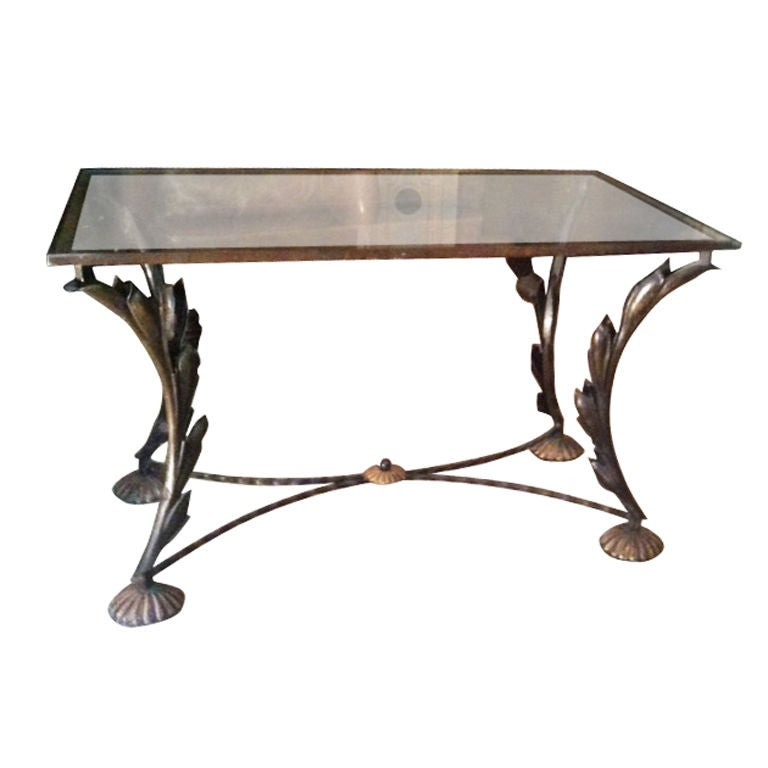 Wrought iron coffee table in the poillerat manner at 1stdibs for Wrought iron coffee table for sale