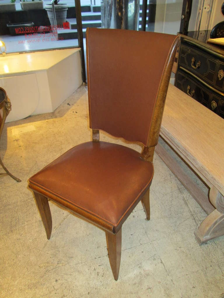 Set of six french 1940s leather upholstered dining chairs for Upholstered dining chairs for sale