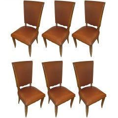 A Set of 6 French 1940s Dining Chairs
