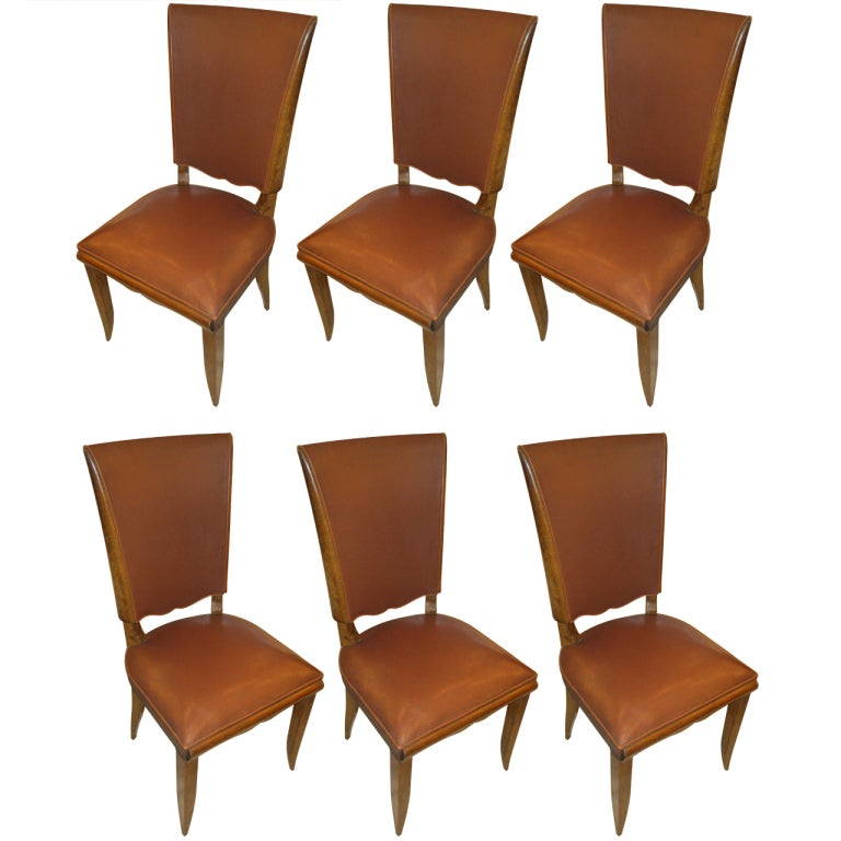 Set Of Six French 1940s Leather Upholstered Dining Chairs