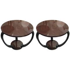 Sculptural Pair of Macassar Ebony Art Deco Tables