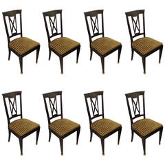 Set of Eight Ebonized Dining Chairs in the Directoire Manner