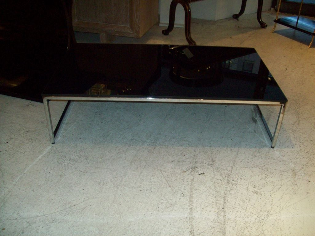 Modern Low Chrome Coffee Table W Black Glass Top At 1stdibs