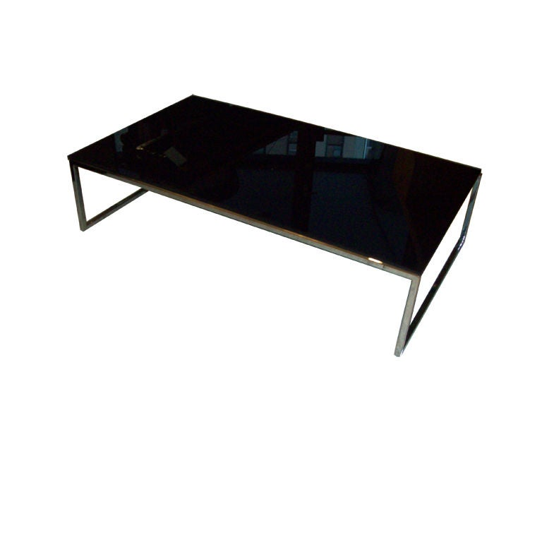 Modern low chrome coffee table w black glass top at 1stdibs Black and chrome coffee table
