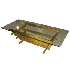 Sculptural Glass-Top Coffee Table