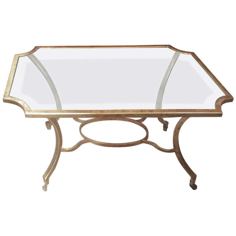 Octagonal glass top gilt coffee table at 1stdibs for Octagon glass top coffee table