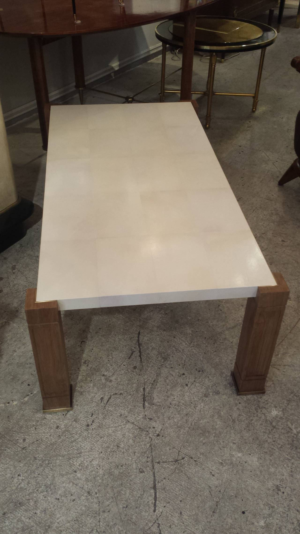 Exquisite Parchment And Cerused Oak Coffee Table At 1stdibs