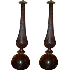 A Pair of Murano Amber and Amethyst Lamps