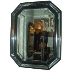 Ebonized Octagonal Mirror With Bevelled Glass
