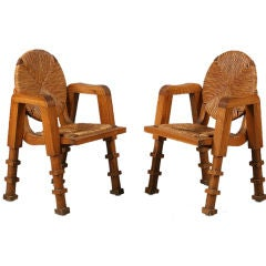 Unusual Pair of French 1940s/ 1950s Caned Oak Chairs