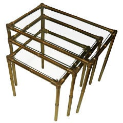 Set of three polished brass faux bamboo nesting tables