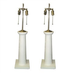 Pair Plaster Column Lamps in the Jean Michel Frank Manner