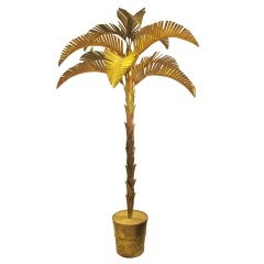 Exquisite 8 Foot Gilt Metal Palm Tree