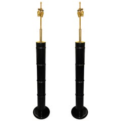 A Pair Of Ebonized Faux Bamboo Floor Lamps