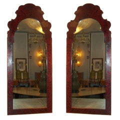Whimsical Pair of Faux-Tortoise Tole Mirrors