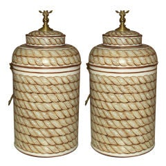 Pair of Hand-Painted Tole Canister Lamps