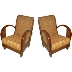 A Pair of Sculptural French Moderne Woven Armchairs