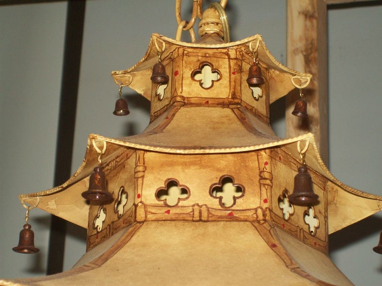 Hand-Painted Custom Pagoda-Shaped, Hand Painted Tole Fixtures