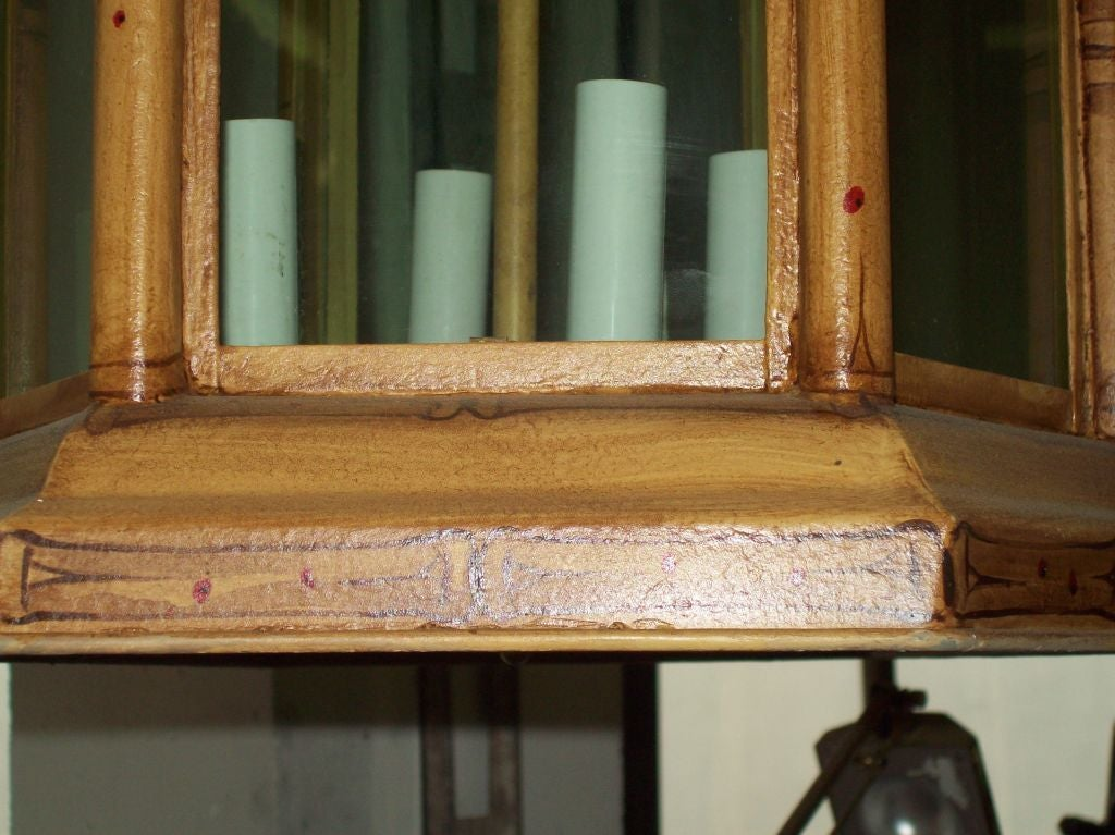 Custom Pagoda-Shaped, Hand Painted Tole Fixtures In Excellent Condition In New York, NY