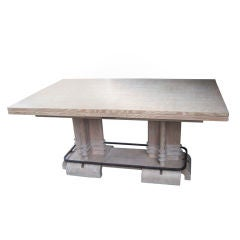 Exceptional and Long Cerused Dining Table