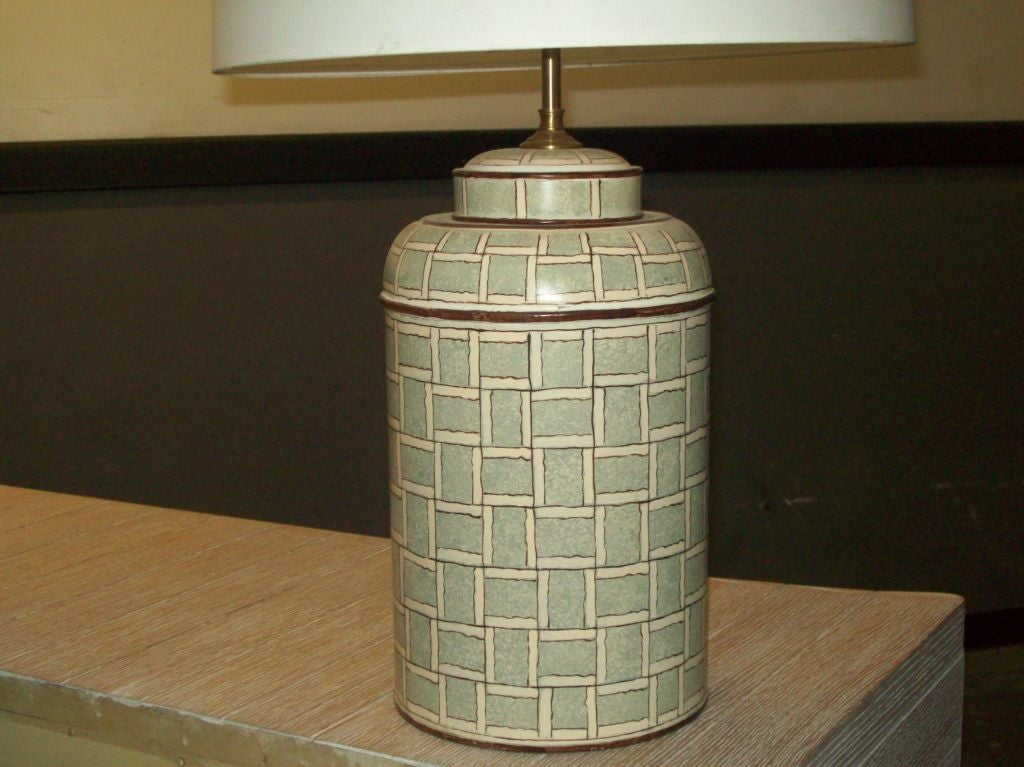 Hand-Painted Pair of Hand Painted Tole Canister Table Lamps For Sale