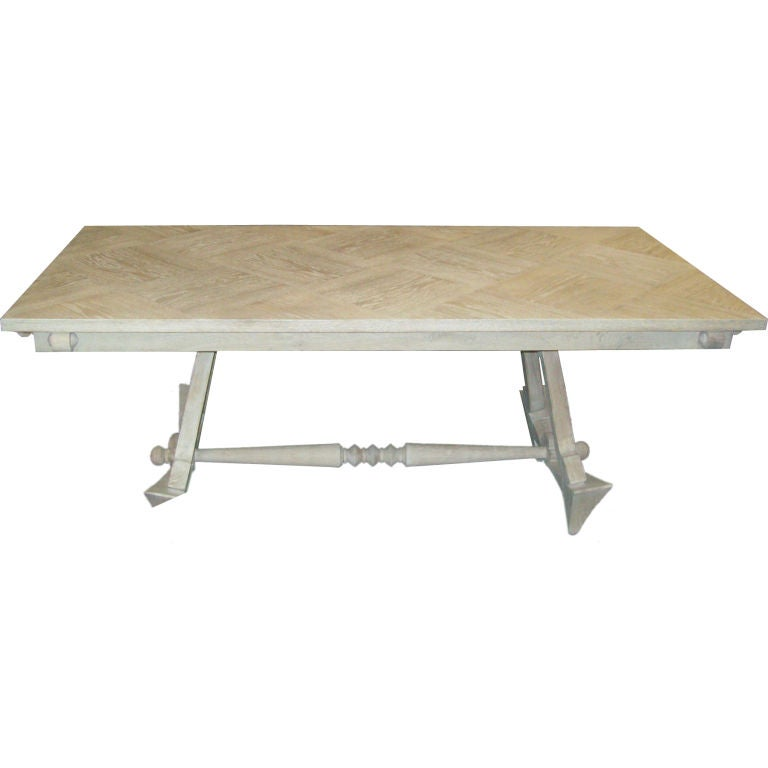 French 40 39 S Cerused Oak Dining Table With Parquetry Top At