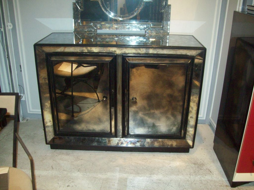 Smoked Glass Mirrored Cabinet At 1stdibs