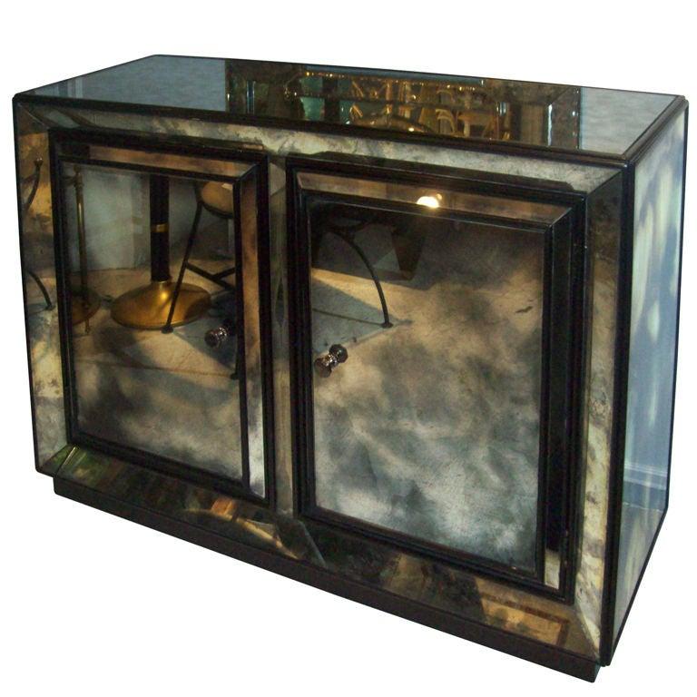 smoked glass mirrored cabi  at 1stdibs