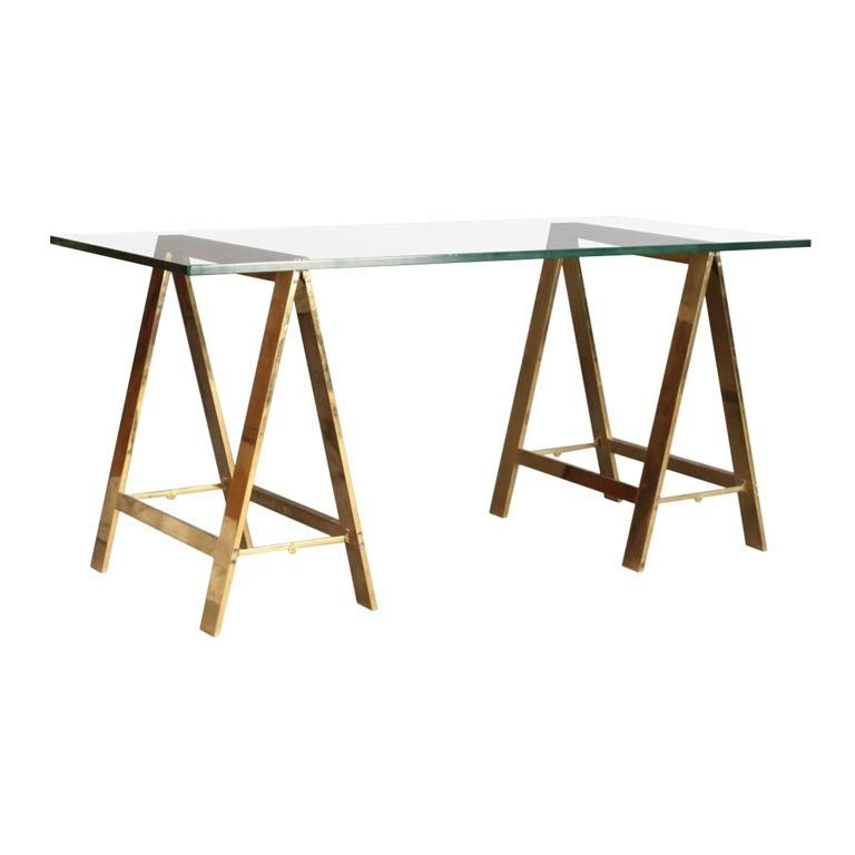 Stylish Bronze Saw Horse Based Desk With Gl Top For