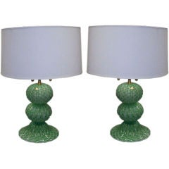 A Pair of Murano,  Hand-Blown Sphere Lamps