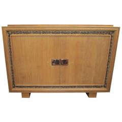 Unusual Jacques Adnet Sideboard in Cerused Oak