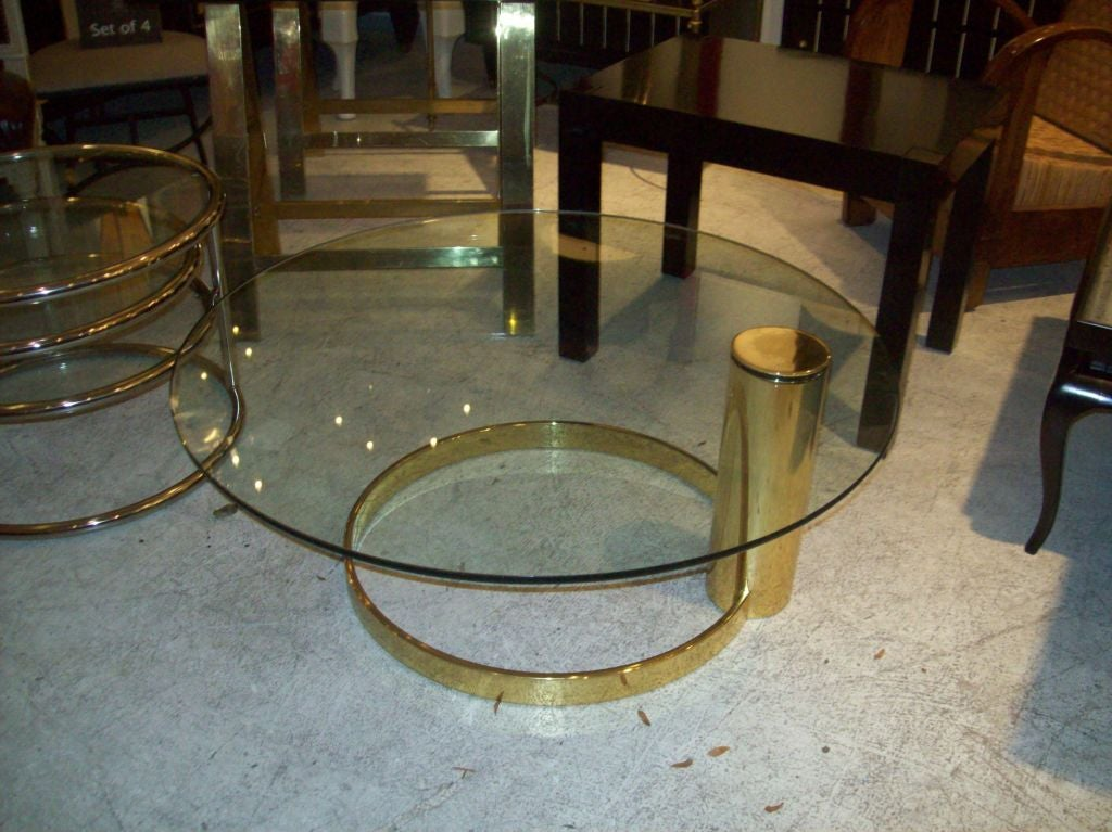 Cantilevered Glass Top Brass Coffee Table At 1stdibs