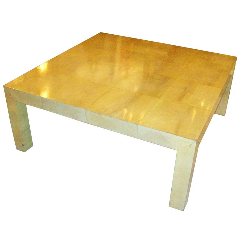 Exquisite Oversized Parchment Coffee Table At 1stdibs