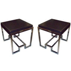 A Pair of Sculptural Leather-Top Coffee Tables with Chrome Base