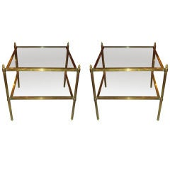 A Pair of Brass Two-Tiered End Tables/Side Tables
