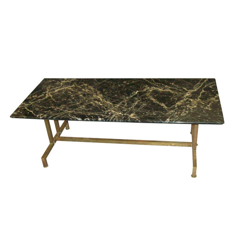 Faux Marble Top Coffee Table On Brass Base At 1stdibs