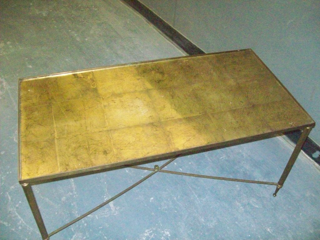 Brass Coffee Table With Gold Leafed Glass Top For Sale At 1stdibs