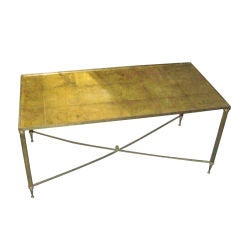 Brass Coffee Table with Gold-Leafed Glass Top