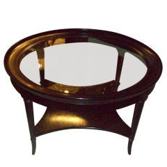 Ebonized Two-Tiered Coffee Table on Faux-Bamboo Legs