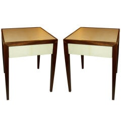 A Pair of Parchment Side Tables/End Tables  W. Pull-Out Drawers