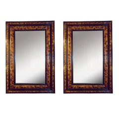 Pair of Faux-Painted Bevelled Mirrors
