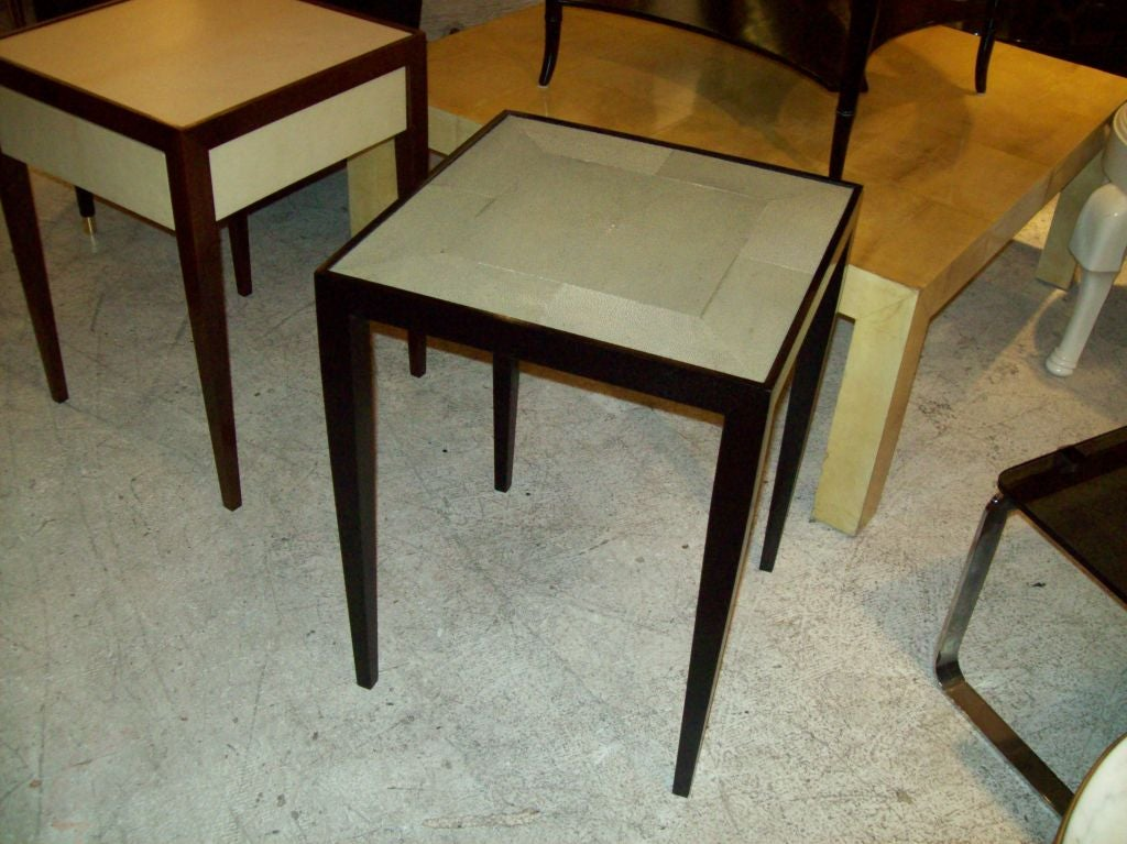 American Custom Pair of Handcrafted Shagreen End Tables For Sale